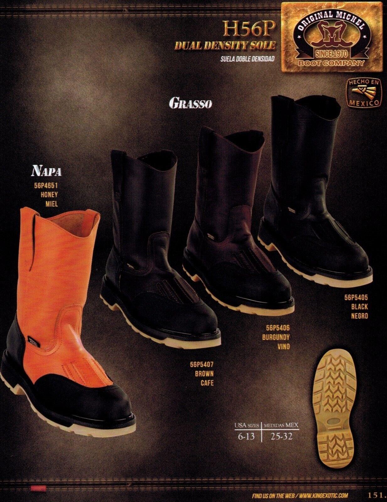 Original Michel King Exotic Men's H56P Leather Cowboy Western Work Boots