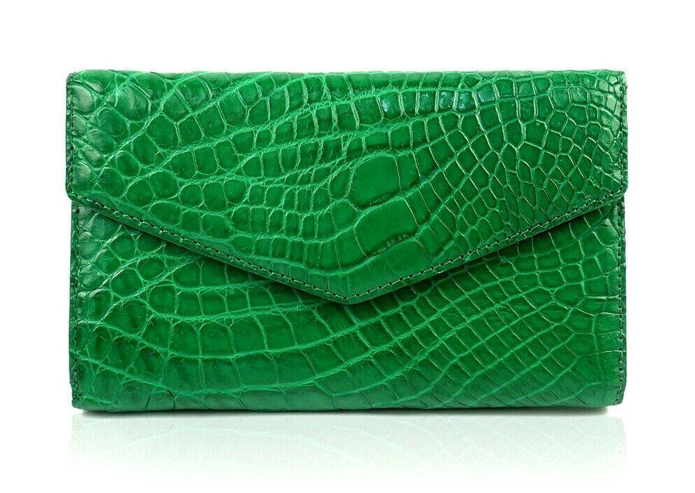 Genuine Crocodile Belly Alligator Leather Skin Women Bifold Clutch Wallet Purse