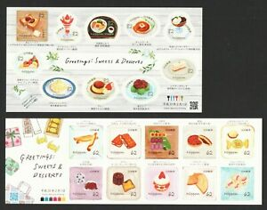 JAPAN-2019-GREETINGS-SWEETS-amp-DESSERTS-2-SOUVENIR-SHEETS-OF-10-STAMPS-EACH-MINT