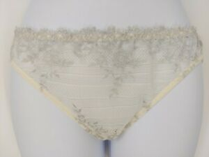 Vintage-Sheer-Cream-Silver-Mesh-Floral-Lace-Stretchy-Bikini-Panty-Panties-Large