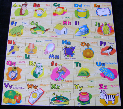 """NEW ALPHABET LETTERS FLOOR PUZZLE JIGSAW 26 PIECES 45cm 18/"""" WOOD WORKS BOXED"""