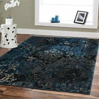 Luxury Area Rugs 8x10 Navy Dark Blue Modern Black Contemporary Area Rug 5x8