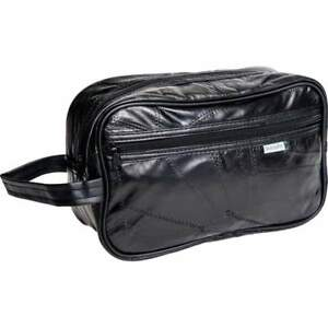 NWT-Genuine-Black-Leather-Personal-Travel-Shaving-Toiletry-Medicine-Jewelry-Bag