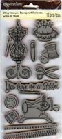 Rubber Cling Stamps Sewing Ô¿ô Mannequin Scissors Thread Thimble Button Borders