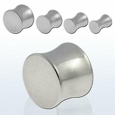 """Pair Solid Steel Silver Double Flare Saddle Solid Drum Ear Plug Gauges 8g-1/2"""""""
