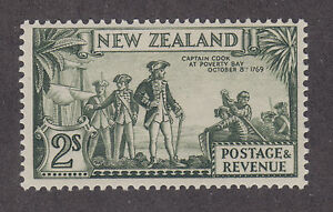 New Zealand SG 589 MLH. 1936-1942 2sh Capt Cook at Poverty Bay, perf 13½