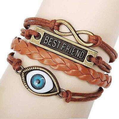Damen Herren Vintage Leder Armband Wickelarmband Armschmuck Lederkette Love