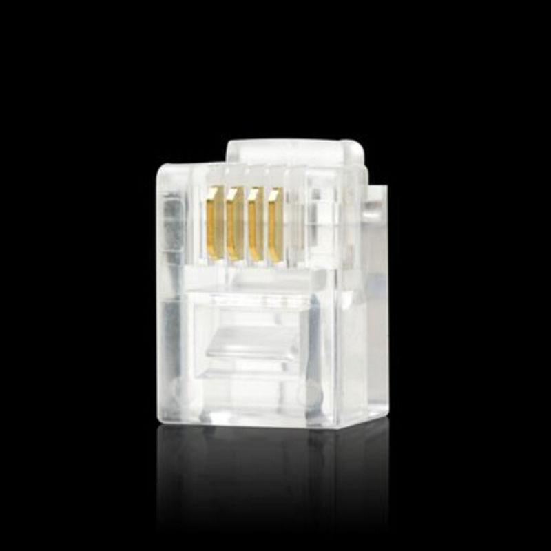 100 pcs RJ11 Modular Plugs 6P4C For Solid Connectors NEW G9K EC
