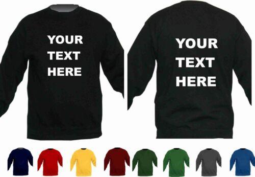 Childrens custom printed Sweatshirt school fun casual play wear personalised