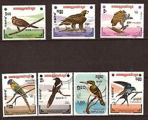 KAMPUCHEA-Set-complet-7-timbres-Rapaces-hirondelles-perroquets-1M-375