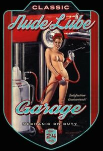 Lube-Garage-Pin-Up-Girl-Blechschild-Schild-gewoelbt-Metal-Tin-Sign-20-x-30-cm