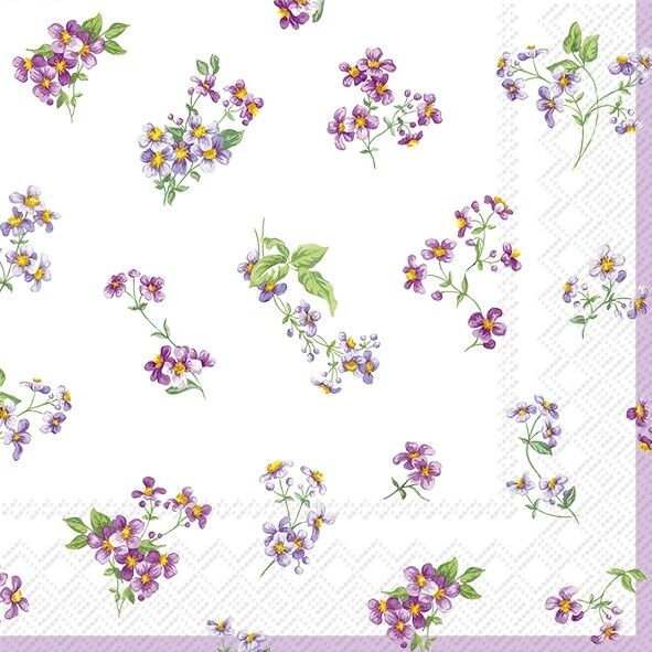 4 Lunch Paper Napkins for Decoupage Craft Vintage Napkin Bellina Cream Flowers