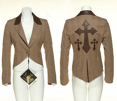 Cross Jacket - Brown,Leather,Cross,Jacket,Coat,Gothic,Goth,Punk,Rave