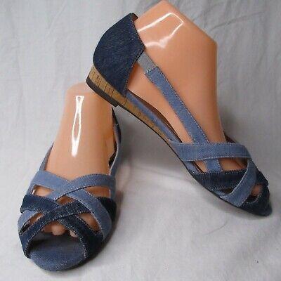 J Renee 7 Wide Denim Sandals Blue Jean
