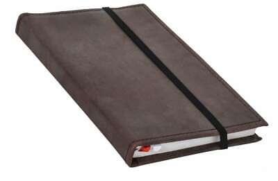 Gusti Leder Riana liniert Buch Notizbuch Tagebuch mit Stiftehalter DIN A5 Liniert Braun Leder