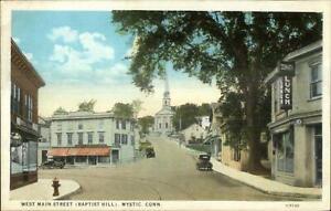 Mystic-CT-West-Main-St-c1920-Postcard