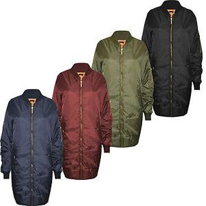Womens-Ladies-Long-Bomber-Jacket-Style-Zip-Up-Biker-Vintage-Coat-UK-6-14