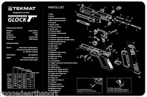 Glock 17 19 21 22 23 27 Handgun Tekmat Gun Cleaning Mat