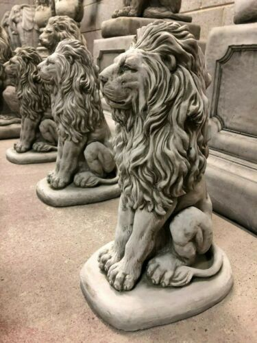 Lion Ornement Statue Jardin Stone Sculpture Pilier Cap Post Fier Lion sur Base