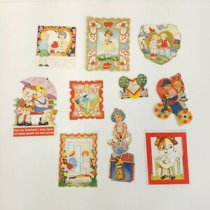 Vintage Antique 1930s Valentine's Day Card lot Mechanical Boy Girl Dog Germany