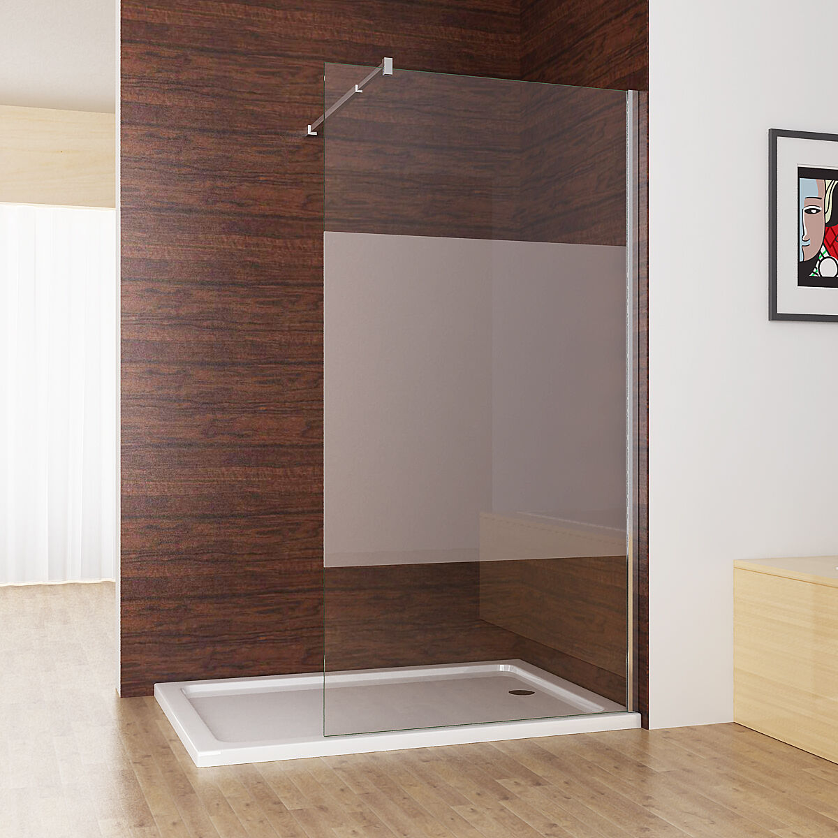 walk in dusche duschwand duschtrennwand duschabtrennung 10mm nano esg glas 200cm ebay. Black Bedroom Furniture Sets. Home Design Ideas