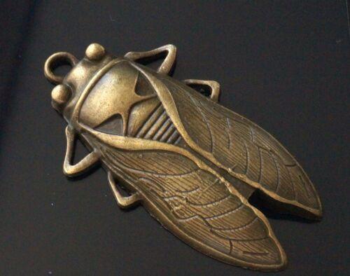 1 Extra Large Antique Bronze Bug Cicada Charm Pendant 61mm TSC02
