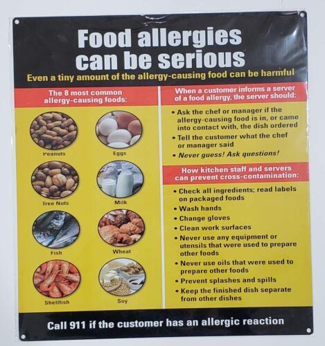 Aluminium Rust Free, Commercial USE, 14.25X15.75 Food Allergies Sign