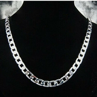 925Sterling Silver Jewelry 8MM Flat Sideways Men Chain Necklace 24inch NA034