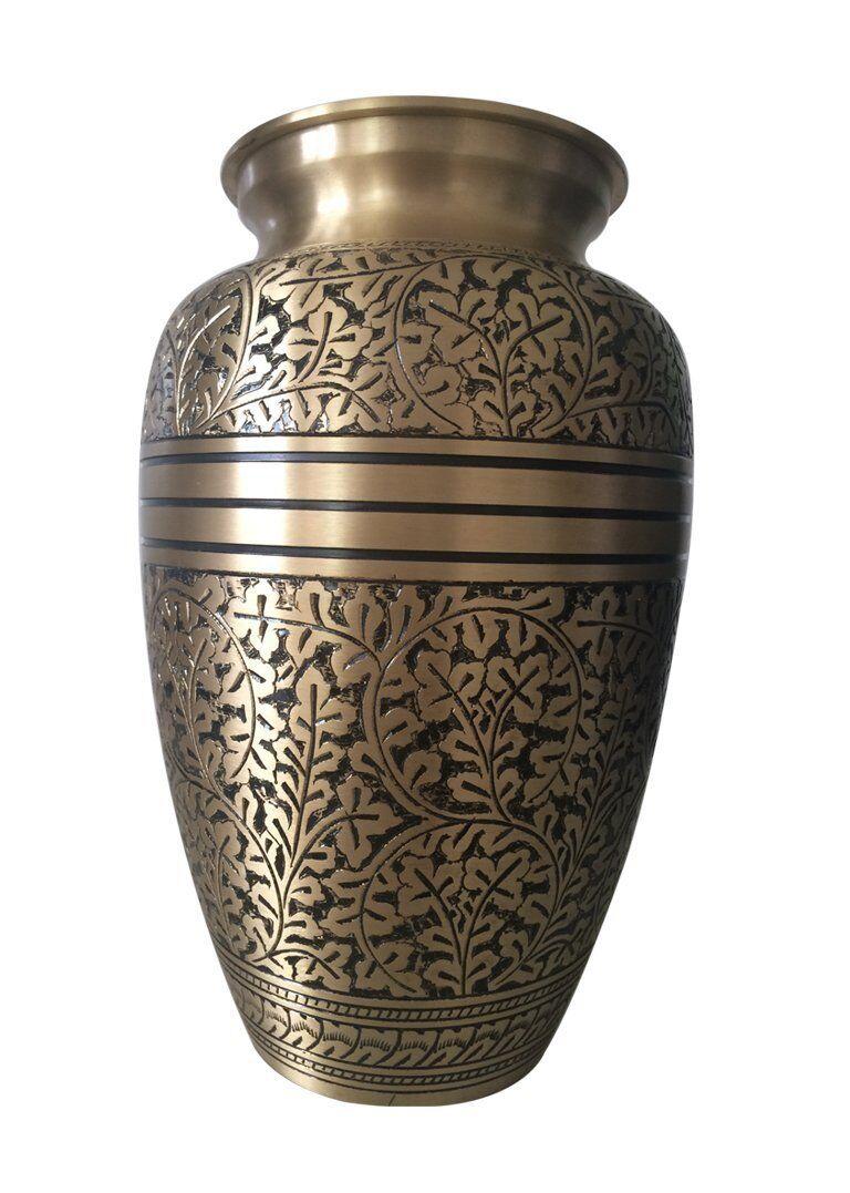 Adulte Gravé Mémorial Urnes GB - Antique Gravé Adulte Cuivre Urne Cendres