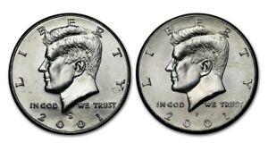 2001 Un-Circulated P/&D Kennedy Half Dollars from U.S Mint Rolls