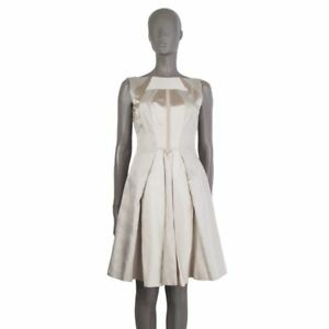 0d02c8f7437 Image is loading 53665-auth-PRADA-champagne-silver-white-wool-Sleeveless-