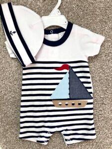 Starting-Out-Newborn-Infant-Baby-Boy-Nautical-Romper-Hat-Sailboat-NWT-Sz-0-Dolls
