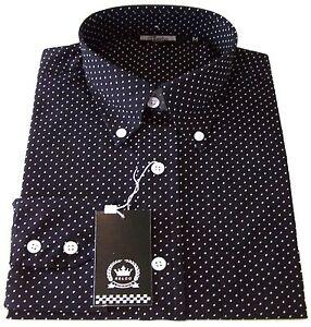 Relco Men's Navy Blue Pin Dot Long Sleeved Button Down Collar Shirt Vtg Mods