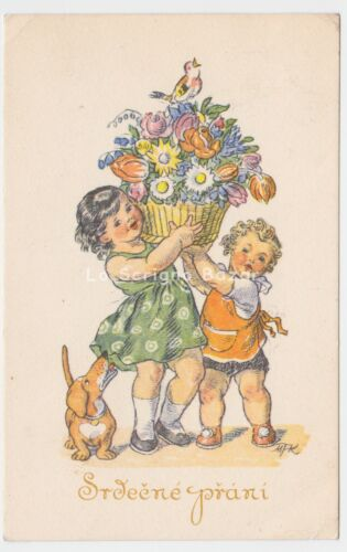 1942 MFK card best wishes d'epoca children cane dachshund Dackel teckel