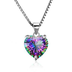 Fashion-Gemstone-sliver-plated-Necklace-Rainbow-Mystic-Topaz-Drop-Women-Pendant