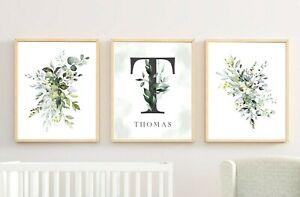 3 Gris Personalizado Monograma Vivero impresiones Verde Follaje botánico Art 616-A