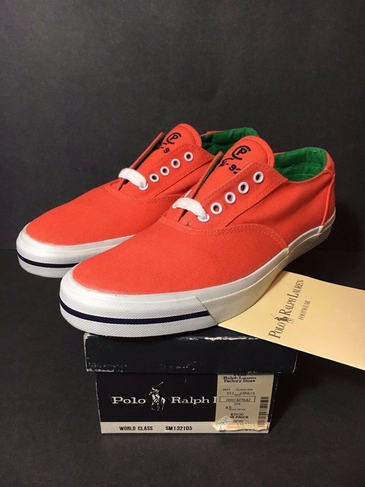 Nuevo POLO RALPH LAUREN CP RL 92 Naranja zapatillas Talla 8.5 Vintage nuevo viejo stock STADIUM 93 8