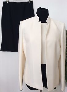Size Skirt 3 Piece Ivory Black Suit Euc Women's Kasper Carriera 8 Blend Polyester YqvHZ68x