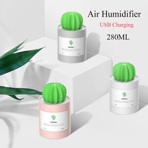 Details about Light Timing Air Humidifier Car Purifier Cactus Shape Essential Oil Diffuser