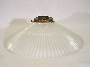 White Art Deco Opaque Glass Vintage Floor Lamp Shade Crinkle Ribbing
