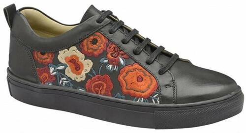 Ladies Ravel Black Floral Leather Sneaker Pump Skater Skateboarding Shoe UK 8