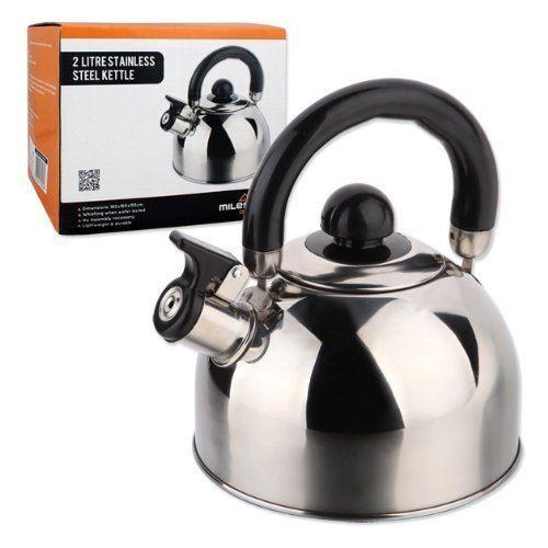 Milestone Camping acier inoxydable 2 L sifflement bouilloire café thé pot pot thé cee269