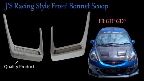 New Honda Jazz Fit GD1 GD3 JS RACING Style Front Bonnet Scoop 1 Pair Fibreglass