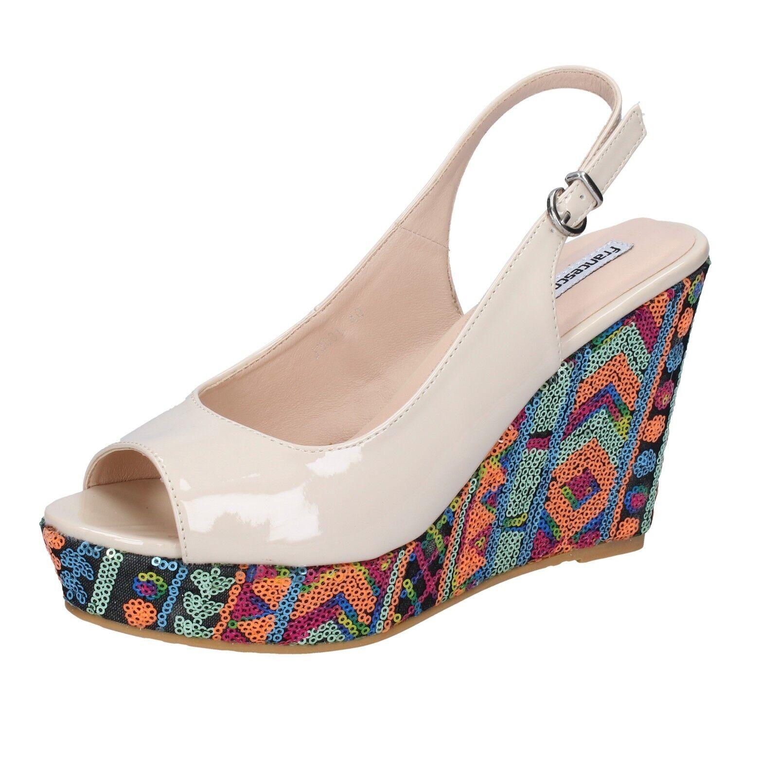 Zapatos para mujer Francesco Milano 6 (EU (EU (EU 39) Sandalias Beige Charol AG515-39 b5415e
