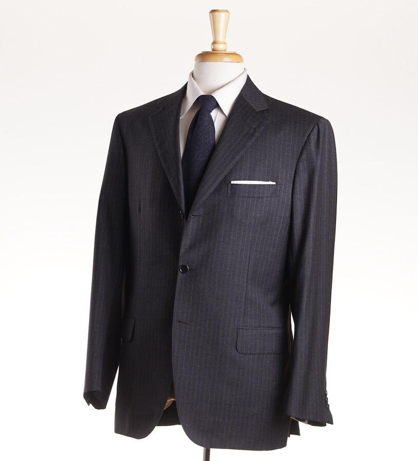 NWT 5495 BRIONI 'Via Veneto' grau and Olive Stripe Super 150s Wool Suit 40 R