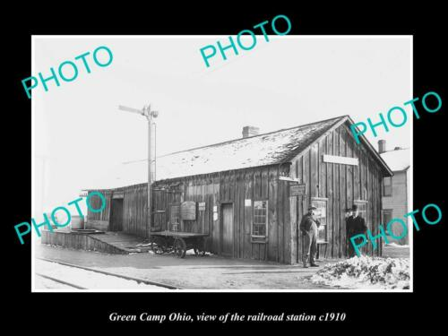 OLD 6 X 4 HISTORIC PHOTO OF GREEN CAMP OHIO, ERIE RAILROAD STATION c1910