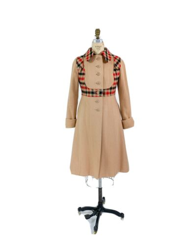Best! VTG 1960s Red Plaid Camel Wool Princess Coat