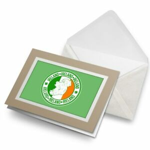 Greetings-Card-Biege-Ireland-Irish-Flag-Map-Travel-Tourist-4930