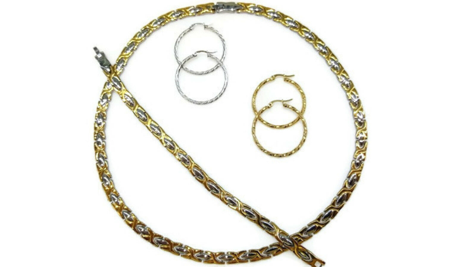 Womens Hugs /& Kisses Necklace Bracelet Set Stainless steel Gold 2 Tone Two Sets