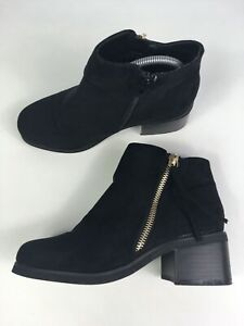 WOMENS-GIRLS-NEW-LOOK-BLACK-FAUX-SUEDE-BLOCK-HEEL-SIDE-ZIP-BOOTS-SHOES-UK-3-EU36